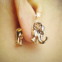 http://abby.storenvy.com — Animal metallic solid elephants African elephant stud earrings