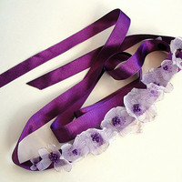 Satin Ribbon Headband - Neck Charm - Sash Belt, Bridesmaids Gifts, Eggplant Purple. Handmade. Multiple Usages