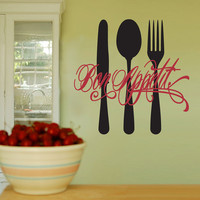 Vinyl Wall Decal Sticker Art - Bon Appetit - Medium - Kitchen mural