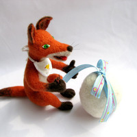 Needle Felted red fox with egg surprise in a gift box  by katuasha
