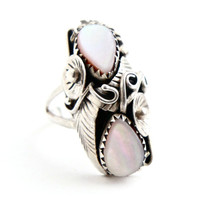 Vintage Sterling Silver Pink Mother of Pearl Ring - Size 6 1/2 Native American Boho Jewelry / Floral Leaf Oblong