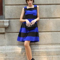 Starry Hit color striped chic dress blue