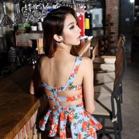 Starry Floral  Peplum Dress
