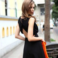 Starry sexy halter black chiffon dress