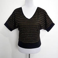 black w/ gold glittery stripes dolman sleeves top