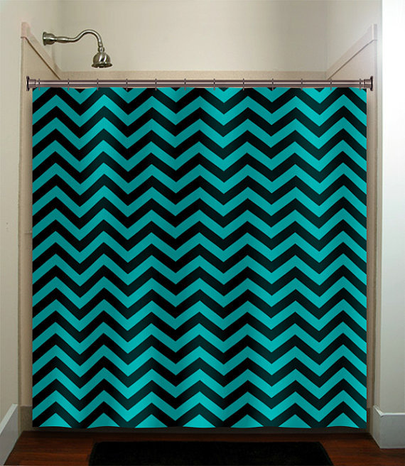 Turquoise Aqua Chevron Shower Curtain From Tablishedworks On Etsy