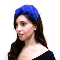 Vintage Blue Fascinator Hat - 1950s 1960s Bird Cage Veil Netting Fashion Accessory - Scalloped Claw Headband