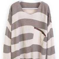 Coffee Stripe Bat Long Sleeve Loose Sweater