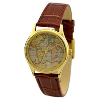 Ladies Vintage Map Watch (World 1) with stripes