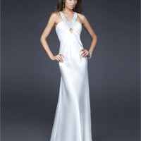 Empire Beaded Strap V-neck Drape Cross Back White Prom Dress PD1606