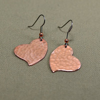 Hammered copper heart dangle earrings