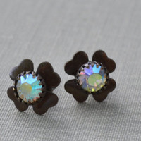 Clear Crystal Clover Post Earrings, Rhinestone and Brass Earrings, Flower Stud Earrings