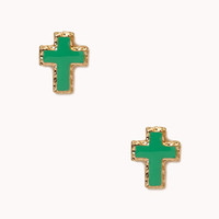 Hammered Metal Cross Earrings