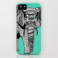 Tribal Elephant Black and White Version iPhone & iPod Case by Pom Graphic Design