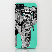Tribal Elephant Black and White Version iPhone &amp; iPod Case by Pom Graphic Design 