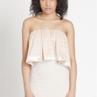 Cream Strapless Ruffle Dress