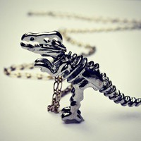 silver T-rex necklace, dinosaur skeleton necklace