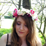 Bridal hair crown, Flower crown floral crown rose crown Wedding wreath head piece Pink cream purple, Silk Flowers - 'Oh Rose'