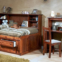 Prescott Twin Size Big Bookcase Storage Bed
