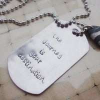 The journey is your destination steel dog tag necklace with genuine smooth beach stone