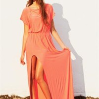 Orange Maxi Dress with Cinched Elastic Waist