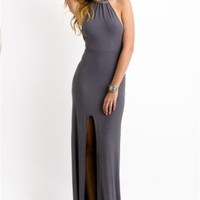 Gray High Neck Maxi Dress with Front Slit