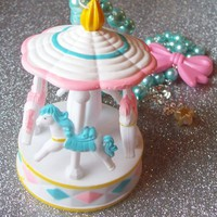 Pastel Carnival - Glass Pearl Necklace with Carousel and Bow Charm from On Secret Wings
