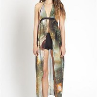 Galaxy Print Sheer Dress
