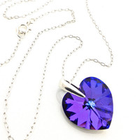 Deep Purple Necklace, Purple Heart, Neon Jewelry, Gift for Teen Girl, Heliotrope, Dark Purple, Cute Necklace, Fun Jewelry, Pendant