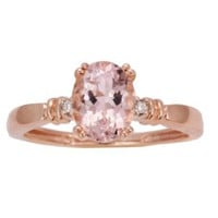 10k Rose Gold Morganite and Diamond 4-Prong Solitaire Ring:Amazon:Jewelry