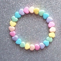 Pastel Hearts Rainbow Stretch Bracelets - Set of 2 from On Secret Wings