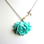 "Mint Green Flower Necklace, Aqua Blue Rose Necklace,  Swallow Necklace, 18"" Silver Tone Chain  - Pin Up Burlesque Vintage Style"