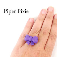 Purple Bow Ring, Bow Jewelry, Purple Jewelry, Big Bow Ring, Polymer Clay Ring, Gifts for Her, Cute Jewelry