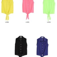CHIC SUMMER BRIGHT TIE FRONT SHIRTS