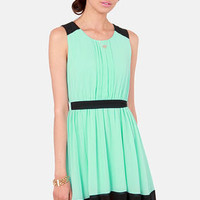 Pintucks Everlasting Black and Mint Blue Dress