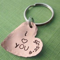 I Heart You Keychain in Copper with Wedding Date, Personalized