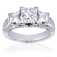 1.30 Ct 3 Stone Princess Cut Diamond Engagement Ring 14K Pave Set