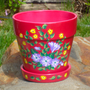 Bright Pink Flowerpot With Flowers