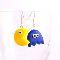 PAC MAN GAME polymer clay earrings plus free gift