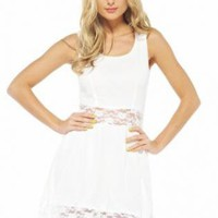 White Lace Cutout Chiffon Dress