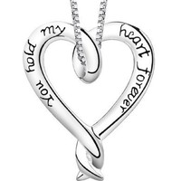 "Sterling Silver ""You Hold My Heart Forever"" Heart Pendant, 18"""