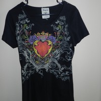 Vocal Brand Juniors Graphic Rhinestone T Shirt Heart Birds Scrolls Crown