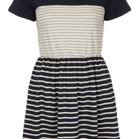 Contrast Stripe Skater Dress - Topshop USA