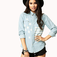American Flag Denim Shirt | FOREVER 21 - 2074862338