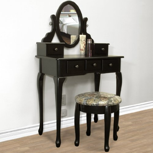 Black vanity table set jewelry armoire from amazon jewelry for Black makeup desk