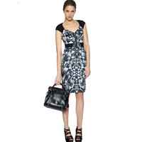 Bqueen Black And White Print Dress K137E - Designer Shoes|Bqueenshoes.com