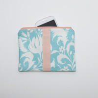 Makeup Bag / Cosmetic Case - Light Turquoise Floral with Color Block Peach Details