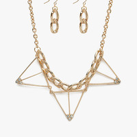 Pyramid Grid + Chain Choker Necklace