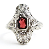 Antique 18K White Gold Diamond & Garnet Ring - Art Deco 1920s Engagement Filigree Fine Jewelry / Great Gatsby Red Shield