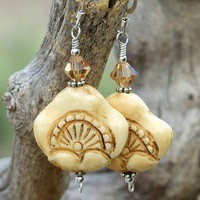 Hand Carved Bone Earrings Handmade Jewelry Swarovski Sunrise Unique